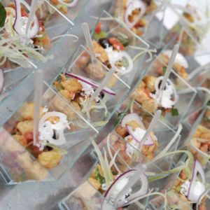 16296038 - some little cups of food in a wedding banquet