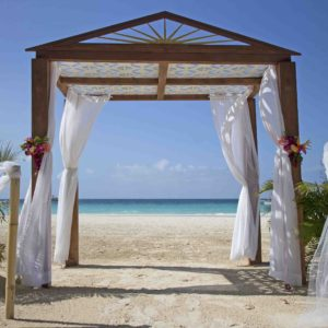 37544174 - wedding arch and set up on beach