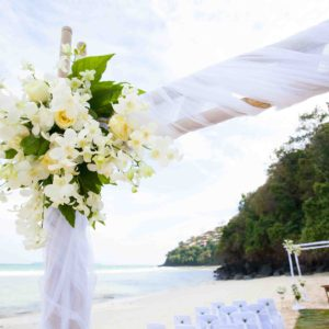 48521434 - beautiful wedding arch on the beach in thailand